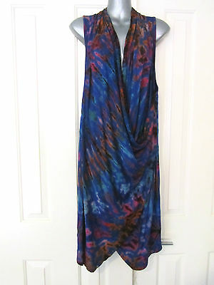 NEW Tie Dyed Dye Blue Vest Draped Crossover Dress Top Layering Soft Stretch OS