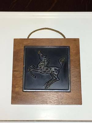 Charles Amann Horse sculpture bronze and walnut wall plaque made in Germany