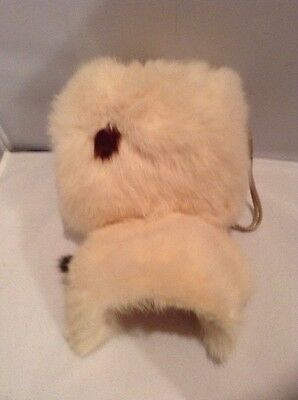Beautiful Vintage Girls Child's White Rabbit Fur Hat and Muff