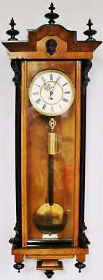 Antique German Carved 2 Tone Walnut Single Weight Vienna Striking Wall Clock