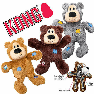 KONG Wild Knots Bear Dog Toy Small Medium | Squeaker Rope Reinforced Plush Tough