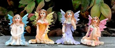 SET OF 4 ENCHANTED FAIRY ORNAMENT FIGURINE Statue Magic Fantasy Garden House S2