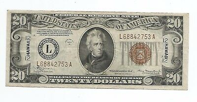 1934A $20 Hawaii WWII Emergency Issue Federal Reserve Note FR 2305 non mule