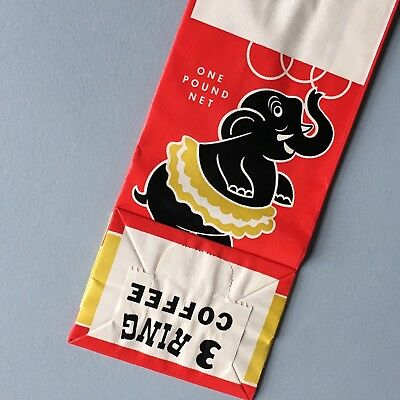 one pound vintage coffee bag 3 RING COFFEE Elephant Kitchen Products Inc Chicago