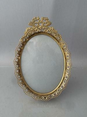 VTG GOLD BRASS or METAL FILIGREE FRENCH BOW & RIBBONS CONVEX GLASS PICTURE FRAME