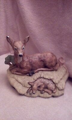 Deer and fawn porcelain figurine