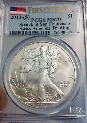 2013-S American Silver Eagle First Strike - PCGS MS70 - Struck at San Francisco