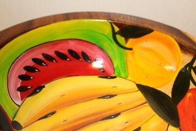 "Colorful Hand Painted Fruit Wood Bowl - Lacquered  10 3/4"" X 3 1/2"""