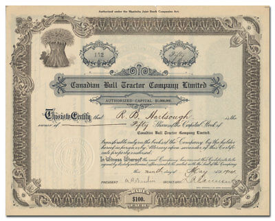 Canadian Bull Tractor Company, Limited Stock Certificate Signed by Hartsough