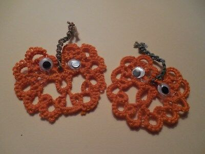 2 Tatted Fall Pumpkins Orange Tan Halloween New Tatting By Dove Country
