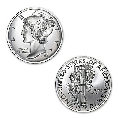 Winged Liberty Mercury Dime 2 oz .999 Silver BU High Relief USA Made Round Coin