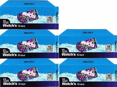 Welch's Grape Labels 5 Small 12 oz Can Soda Vending Machine Calories Labels