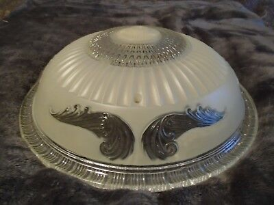 VINTAGE Dome Shape LIGHT FIXTURE ORNATE With LEAVES and FROSTED GLASS