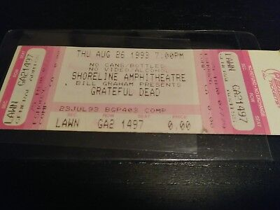 Grateful Dead Unused Ticket, Stub, Shoreline, 08/26/1993