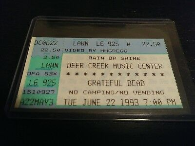 Grateful Dead Ticket Stub, Deer Creek, 06/22/1993