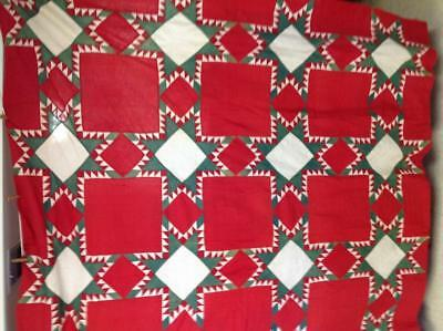 ANTIQUE 1800s QUILT TOP RED & GREEN CHRISTMAS FEATHER STAR  84 by 72