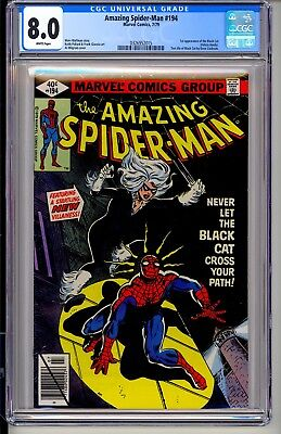 AMAZING SPIDER-MAN #194  CGC 8.0  WP  Marvel Comics 7/79 1st app Black Cat