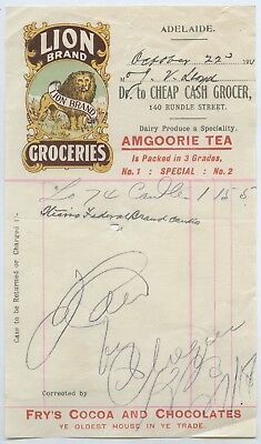1910 Lion Brand Groceries Letter Head Grocer Invoice Amgoorie Tea Adelaide X76