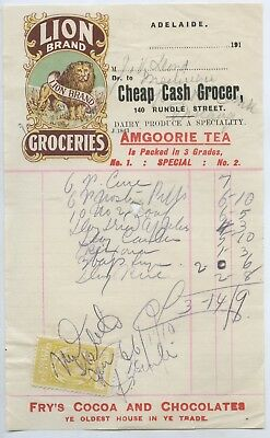 1910 Lion Brand Groceries Letter Head Grocer Invoice Amgoorie Tea Adelaide X75