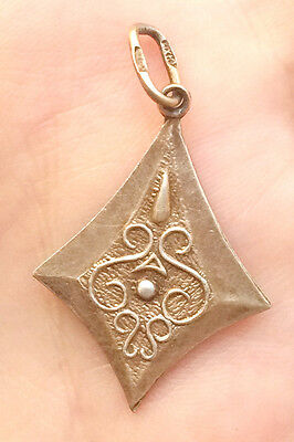 Vintage Antique Soviet USSR Russian 875 Silver Gilded Pendant with STAR~RARE