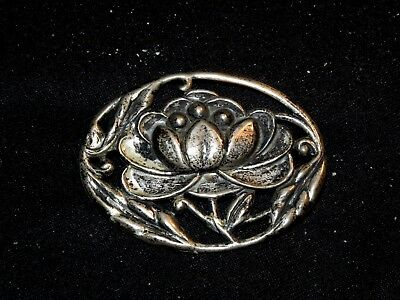 Stunning Antique Estate Sterling Silver Floral Art Nouveau Repousse Brooch