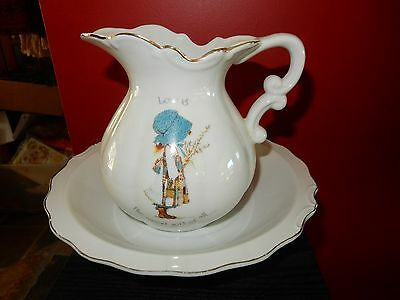 Vintage Holly Hobbie Blue Girl Love Is The Nicest Gift Of All Big Jug and Bowl