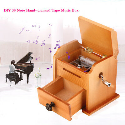Vintage Wooden 15 Note Hand Crank Paper Tape DIY Compose Music Box with Drawer