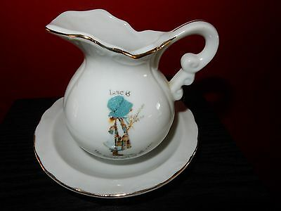 Vintage Holly Hobbie Love Is The Nicest Gift Of All Small Jug and Bowl
