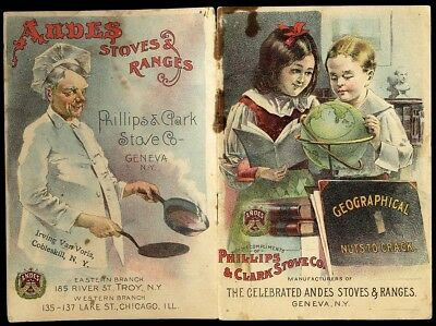ANDES STOVES RANGES Advertising Booklet 1880's Color Illustrated Children Cook