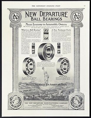 "Orig 1915 NEW DEPARTURE BALL BEARINGS ""American Made for American Trade"" Vtg AD"