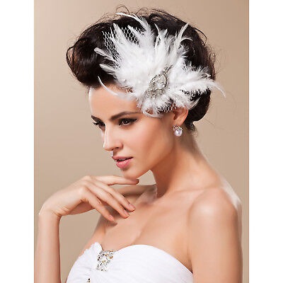 Vimtage Women Feather Tulle Fascinator Headpiece Bridal Wedding Party Derby Race
