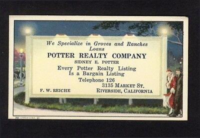 Sidney POTTER REALTY CO Riverside California Business Card 1918 BLOTTER on Back