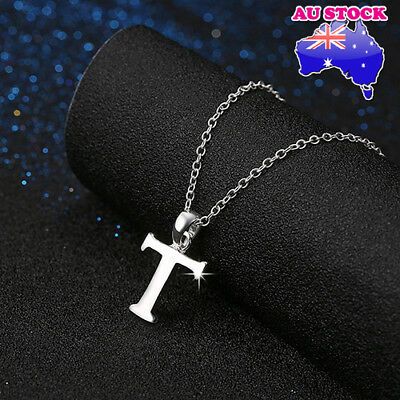 Wholesale925 Sterling Silver Filled Letter T Personalised Pendant Chain Necklace