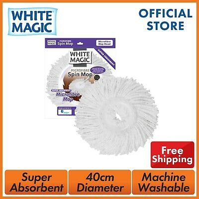 White Magic Microfibre Mop Head For Spin Mop Replacement Head x 3