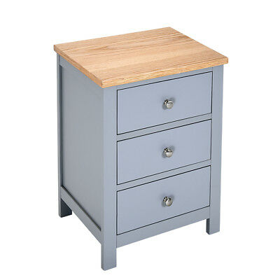Grey Bedside Table  Solid Oak Unit Cabinet Nightstand with 3 Drawers Cupboard