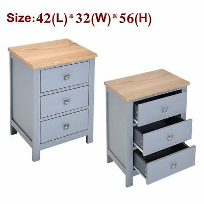 Pair Grey Bedside Table  Solid Oak Unit Cabinet Nightstand with 3 Drawers Stand