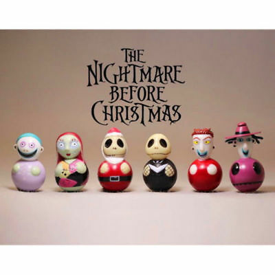 6Pcs Disney Nightmare Before Christmas Jack Sally Lock Barrel 4cm Figure Gifts