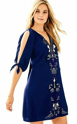 ba98994c6cb LILLY PULITZER TRUE Navy BRYCE SILK SHIFT DRESS $278 SIZE XS/M ...