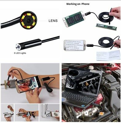 5M Long Car 2 in 1 USB Inspection HD Endoscope Camera with 6 LED Lights Android