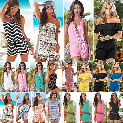 Womens Jumpsuit Shorts Mini Playsuit Rompers Dress Beach Sundress Club Holiday