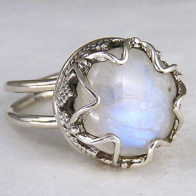 GRANULATION CROWN Size US 9.5 SILVERSARI Ring Solid 925 Stg Silver + MOONSTONE