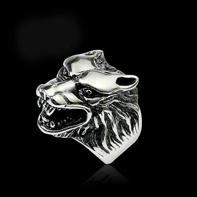 Men Retro Cool Wolf Head Rings Silver Plated Punk Finger Knuckle Band Jewelry