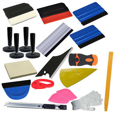 21Pcs Anti-Scratch Car Wrap Vinyl Tools Kit +Vinyl Cutter Magnet Squeegee Gloves