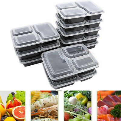 10pcs Microwavable Meal Prep Containers Plastic Food Storage Reusable Box XA