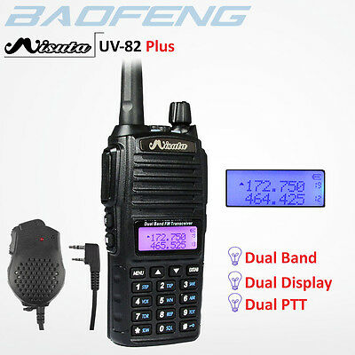BAOFENG x Misuta UV-82 Plus Walkie Talkie UHF/VHF DUAL BAND RADIO +Speaker Mic