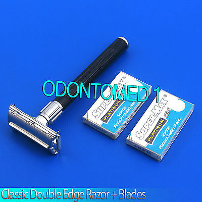 MENS Retro Old Style SAFETY RAZOR Supermax Double Edge blades Vintage Fashion