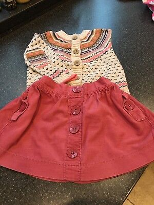 Next Girls Cardigan And Skirt 12-18 Months