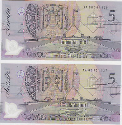 R214F $5 Fraser/Cole First Prefix AA00 Consecutive Pair Uncirculated