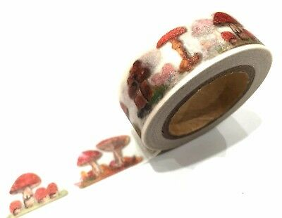 1PC Japanese Washi Tape Craft Sticker, Red Mushroom Forest Fairy Nature 10METRE