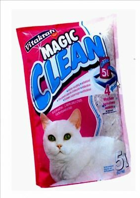 Magic Clean 2.2Kg 5L Cat Kitten Litter Silicone Crystal Antibacterial Odour Stop